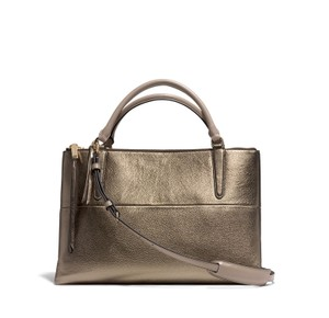 Coach Leather Borough Satchel in Gold
