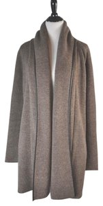 Vince Leather Trim Wool Oversized Cardigan
