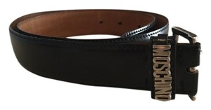 Moschino Black leather Moschino silver monogram belt