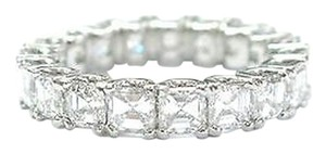 Platinum,Asscher,Cut,Diamond,Eternity,Band,Ring,4.42ct,Sz,5.5,19-stones,