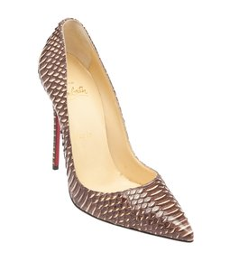Christian Louboutin Brown Beige Watersnake Brown,Beige Pumps