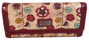Fossil Floral Bifold Checkbook Length Leather Wallet