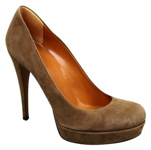 Gucci Suede Platform Pump Brown Pumps