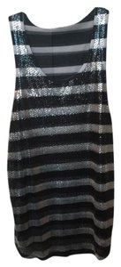 Silence + Noise Striped Holiday Sequined Top Silver/Black