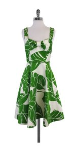 Kate Spade short dress Green Cream Leaf Print Sleeveless on Tradesy