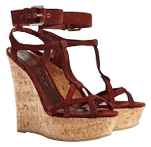 Burberry Sandals Suede Rust Wedges