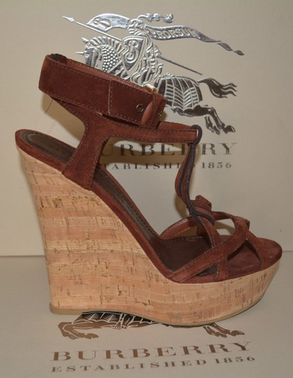 Burberry Sandals Suede Rust Wedges Image 1