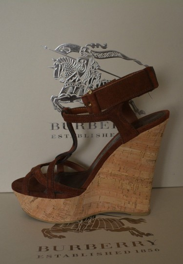 Burberry Sandals Suede Rust Wedges Image 2