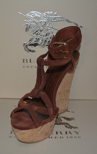 Burberry Sandals Suede Rust Wedges Image 3
