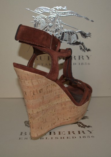 Burberry Sandals Suede Rust Wedges Image 4