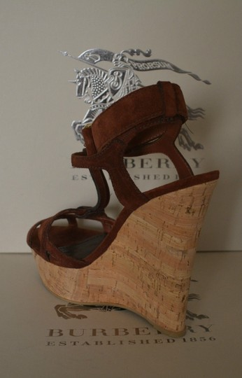 Burberry Sandals Suede Rust Wedges Image 5