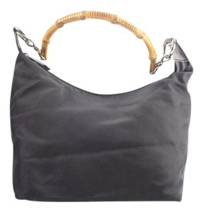 Gucci Nylon Black Bamboo Hobo Shoulder Bag
