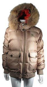 Burberry Brit Down Puffer Fur Hooded Logo Coat