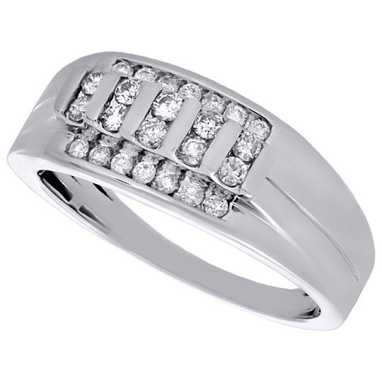 Other 10K White Gold Diamond Wedding Band Mens Channel Set 9mm Ring 1/2 Ct