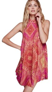 Free People short dress Hot Pink with Yellow on Tradesy