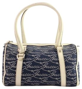 Gucci Lasso Name Logo Speedy Denim Satchel in blue