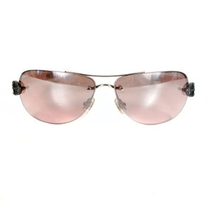 Chrome Hearts LEATHER PINK AVIATOR SUNGLASSES - STERLING SILVER CROSS DETAIL