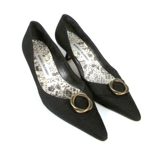 Manolo Blahnik Kitten Canvas Pointed Toe Black Formal