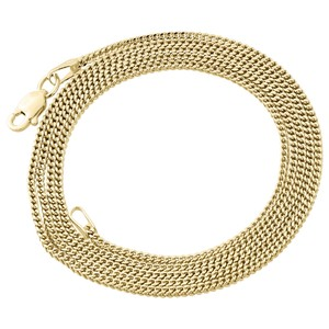 10K Yellow Gold 1.5MM Hollow Franco Box Link Chain Necklace 22 Inch