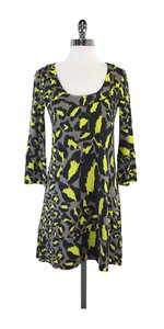 Diane von Furstenberg short dress Yellow Grey Silk Shift on Tradesy
