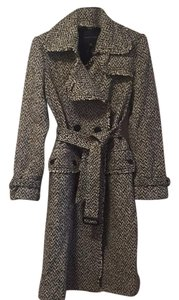 Banana Republic Black & White Tweed Trench T Trench Coat