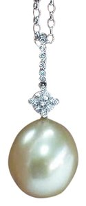 Platinum,Golden,Pearl,Diamond,Pendant,Necklace,.30ct,13mm