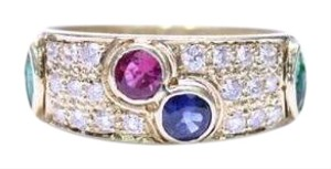Estate Jewelry Estate 14K Gold Pave Set Diamond Band Ring with Ruby Sapphire and Emeralds