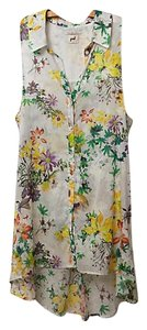 Anthropologie Floral Pol Tunic Button Down Shirt Multi
