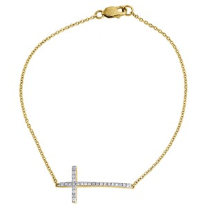 Other Diamond Sideways Cross Bracelet Ladies 10K Yellow Gold 0.17 Ct. 7