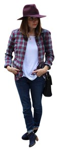J.Crew Button Down Shirt Flannel Gray, red, and black plaid.