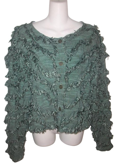 Preload https://img-static.tradesy.com/item/19789003/teal-rayon-button-front-fringe-blouse-size-12-l-0-2-650-650.jpg