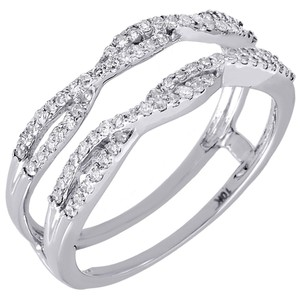 10k White Gold Diamond Solitaire Engagement Ring Enhancer Wrap 0.36 Ct. Women's Wedding Band