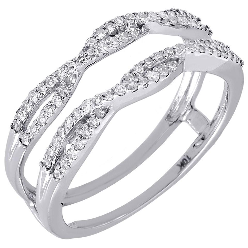 10k White Gold Diamond Solitaire Engagement Ring Enhancer Wrap 0 36 Ct Women S Wedding Band