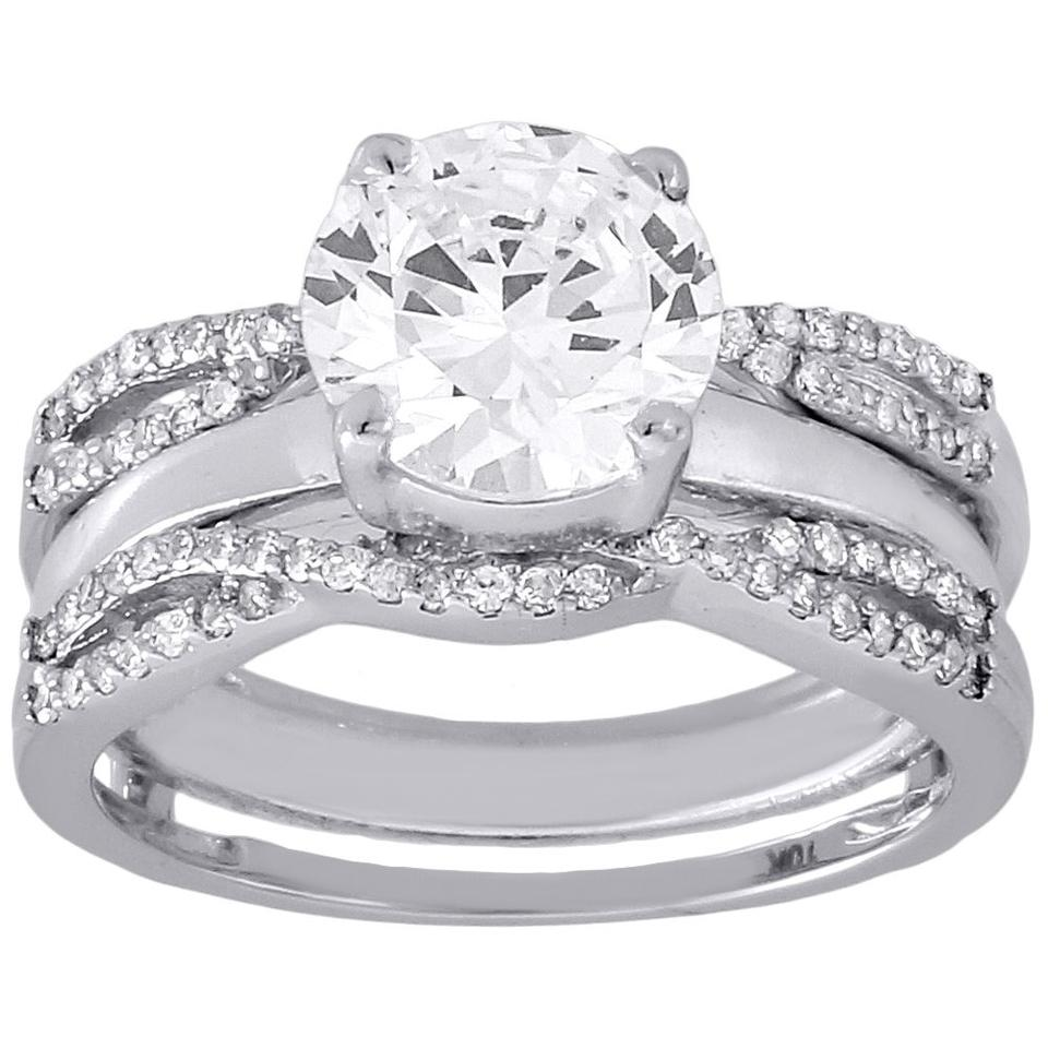 10k White Gold Diamond Solitaire Engagement Ring Enhancer Wrap 0 36 Ct Women S Wedding Band 123456