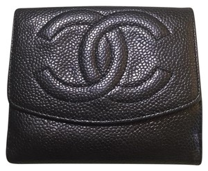 Chanel Authentic CHANEL Black Caviar Leather CC Logos Bifold Compact Wallet