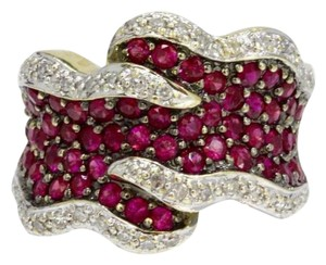 Estate Jewelry Vintage Wide Chunky Ruby and Diamond 14k Gold Ring Band