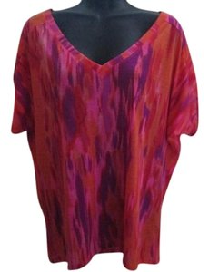 Express Tie Dye Ikat Abstract Casual Top Multicolored