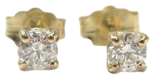 Fine Round Cut Diamond Stud Earrings Yg 14kt 0.42ct