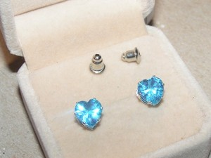Blue Topaz Heart Stud Earrings Free Shipping