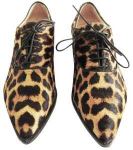 Christian Louboutin Zazou Pony Hair Oxfords 36 Leather Soles Leopard Print Flats