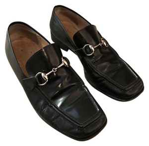 Gucci Patent Leather Loafers Black Flats