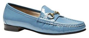 Gucci Soft Patent Leather Horsebit Light Blue Flats