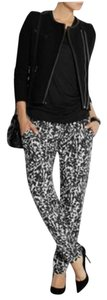 Isabel Marant Silk Skinny Tapered Straight Pants Black White