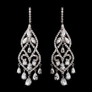 Fabulous Cz Chandelier Bridal Earrings