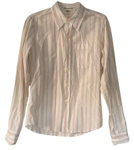 Abercrombie & Fitch Button Down Shirt White with Pink Stripes