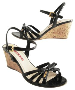 Prada Patent Leather Bow Logo Black Wedges