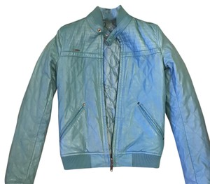 Diesel Blue Leather Jacket