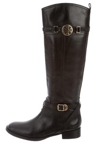 Tory Burch Hardware Reva Logo Black, Gold Boots
