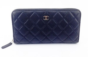 Chanel Chanel Black Caviar Quilted Zip L-Gusset Wallet
