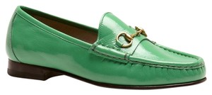 Gucci Soft Patent Leather Horsebit Jasmine Green Flats